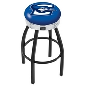 L8B3C - Black Wrinkle Creighton Swivel Bar Stool with Chrome 2.5 Ribbed Accent Ring by Holland Bar Stool Company