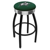 L8B3C - Black Wrinkle Dallas Stars Swivel Bar Stool with Chrome 2.5 Ribbed Accent Ring by Holland Bar Stool Company