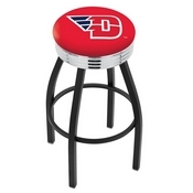 L8B3C - Black Wrinkle University of Dayton Swivel Bar Stool with Chrome 2.5 Ribbed Accent Ring by Holland Bar Stool Company