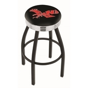 L8B3C - Black Wrinkle Eastern Washington Swivel Bar Stool with Chrome 2.5 Ribbed Accent Ring by Holland Bar Stool Company