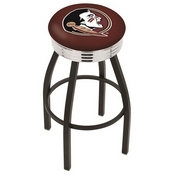 L8B3C - Black Wrinkle Florida State (Head) Swivel Bar Stool with Chrome 2.5 Ribbed Accent Ring by Holland Bar Stool Company