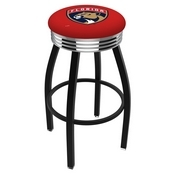 L8B3C - Black Wrinkle Florida Panthers Swivel Bar Stool with Chrome 2.5 Ribbed Accent Ring by Holland Bar Stool Company
