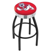 L8B3C - Black Wrinkle Fresno State Swivel Bar Stool with Chrome 2.5 Ribbed Accent Ring by Holland Bar Stool Company