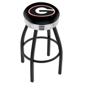 L8B3C - Black Wrinkle Georgia G Swivel Bar Stool with Chrome 2.5 Ribbed Accent Ring by Holland Bar Stool Company