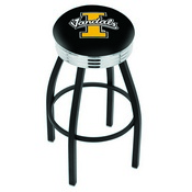 L8B3C - Black Wrinkle Idaho Swivel Bar Stool with Chrome 2.5 Ribbed Accent Ring by Holland Bar Stool Company