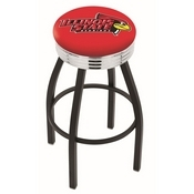 L8B3C - Black Wrinkle Illinois State Swivel Bar Stool with Chrome 2.5 Ribbed Accent Ring by Holland Bar Stool Company