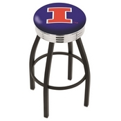 L8B3C - Black Wrinkle Illinois Swivel Bar Stool with Chrome 2.5 Ribbed Accent Ring by Holland Bar Stool Company