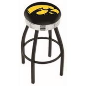 L8B3C - Black Wrinkle Iowa Swivel Bar Stool with Chrome 2.5 Ribbed Accent Ring by Holland Bar Stool Company