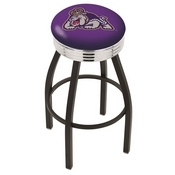 L8B3C - Black Wrinkle James Madison Swivel Bar Stool with Chrome 2.5 Ribbed Accent Ring by Holland Bar Stool Company
