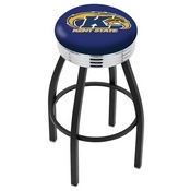 L8B3C - Black Wrinkle Kent State Swivel Bar Stool with Chrome 2.5 Ribbed Accent Ring by Holland Bar Stool Company