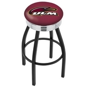 L8B3C - Black Wrinkle Louisiana-Monroe Swivel Bar Stool with Chrome 2.5 Ribbed Accent Ring by Holland Bar Stool Company