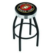 L8B3C - Black Wrinkle U.S. Marines Swivel Bar Stool with Chrome 2.5 Ribbed Accent Ring by Holland Bar Stool Company