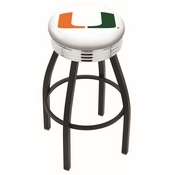 L8B3C - Black Wrinkle Miami (FL) Swivel Bar Stool with Chrome 2.5 Ribbed Accent Ring by Holland Bar Stool Company