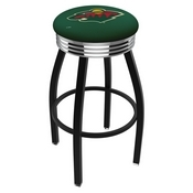 L8B3C - Black Wrinkle Minnesota Wild Swivel Bar Stool with Chrome 2.5 Ribbed Accent Ring by Holland Bar Stool Company