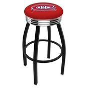L8B3C - Black Wrinkle Montreal Canadiens Swivel Bar Stool with Chrome 2.5 Ribbed Accent Ring by Holland Bar Stool Company