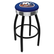 L8B3C - Black Wrinkle New York Islanders Swivel Bar Stool with Chrome 2.5 Ribbed Accent Ring by Holland Bar Stool Company