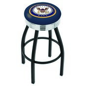 L8B3C - Black Wrinkle U.S. Navy Swivel Bar Stool with Chrome 2.5 Ribbed Accent Ring by Holland Bar Stool Company