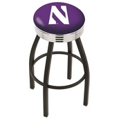 L8B3C - Black Wrinkle Northwestern Swivel Bar Stool with Chrome 2.5 Ribbed Accent Ring by Holland Bar Stool Company