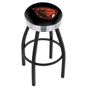 L8B3C - Black Wrinkle Oregon State Swivel Bar Stool with Chrome 2.5 Ribbed Accent Ring by Holland Bar Stool Company