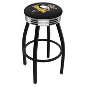 L8B3C - Black Wrinkle Pittsburgh Penguins Swivel Bar Stool with Chrome 2.5 Ribbed Accent Ring by Holland Bar Stool Company