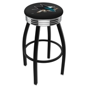 L8B3C - Black Wrinkle San Jose Sharks Swivel Bar Stool with Chrome 2.5 Ribbed Accent Ring by Holland Bar Stool Company