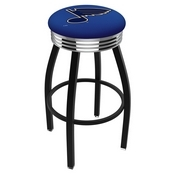 L8B3C - Black Wrinkle St Louis Blues Swivel Bar Stool with Chrome 2.5 Ribbed Accent Ring by Holland Bar Stool Company