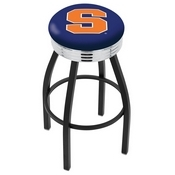 L8B3C - Black Wrinkle Syracuse Swivel Bar Stool with Chrome 2.5 Ribbed Accent Ring by Holland Bar Stool Company