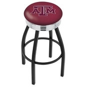L8B3C - Black Wrinkle Texas A&M Swivel Bar Stool with Chrome 2.5 Ribbed Accent Ring by Holland Bar Stool Company