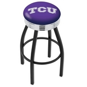 L8B3C - Black Wrinkle TCU Swivel Bar Stool with Chrome 2.5 Ribbed Accent Ring by Holland Bar Stool Company