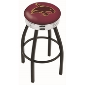 L8B3C - Black Wrinkle Texas State Swivel Bar Stool with Chrome 2.5 Ribbed Accent Ring by Holland Bar Stool Company