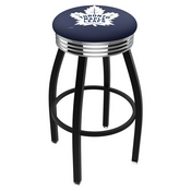 L8B3C - Black Wrinkle Toronto Maple Leafs Swivel Bar Stool with Chrome 2.5 Ribbed Accent Ring by Holland Bar Stool Company