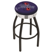 L8B3C - Black Wrinkle Tulsa Swivel Bar Stool with Chrome 2.5 Ribbed Accent Ring by Holland Bar Stool Company