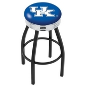 L8B3C - Black Wrinkle Kentucky UK Swivel Bar Stool with Chrome 2.5 Ribbed Accent Ring by Holland Bar Stool Company