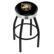 L8B3C - Black Wrinkle US Military Academy (ARMY) Swivel Bar Stool with Chrome 2.5 Ribbed Accent Ring by Holland Bar Stool Company