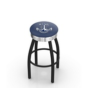 L8B3C - Black Wrinkle US Naval Academy (NAVY) Swivel Bar Stool with Chrome 2.5 Ribbed Accent Ring by Holland Bar Stool Company
