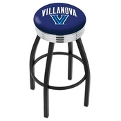 L8B3C - Black Wrinkle Villanova Swivel Bar Stool with Chrome 2.5 Ribbed Accent Ring by Holland Bar Stool Company