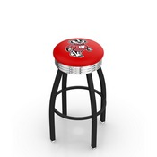 L8B3C - Black Wrinkle Wisconsin Badger Swivel Bar Stool with Chrome 2.5 Ribbed Accent Ring by Holland Bar Stool Company
