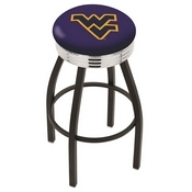 L8B3C - Black Wrinkle West Virginia Swivel Bar Stool with Chrome 2.5 Ribbed Accent Ring by Holland Bar Stool Company