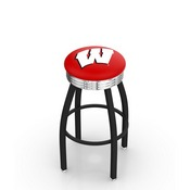 L8B3C - Black Wrinkle Wisconsin W Swivel Bar Stool with Chrome 2.5 Ribbed Accent Ring by Holland Bar Stool Company