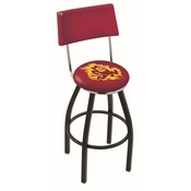 L8B4 - Black Wrinkle Arizona State Swivel Bar Stool with a Back and Sparky Logo by Holland Bar Stool Company