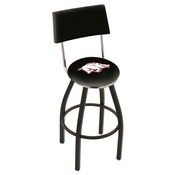 L8B4 - Black Wrinkle Arkansas Swivel Bar Stool with a Back by Holland Bar Stool Company