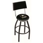 L8B4 - Black Wrinkle U.S. Army Swivel Bar Stool with a Back by Holland Bar Stool Company