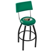 L8B4 - Black Wrinkle Bemidji State Swivel Bar Stool with a Back by Holland Bar Stool Company