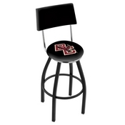 L8B4 - Black Wrinkle Boston College Swivel Bar Stool with a Back by Holland Bar Stool Company