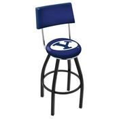L8B4 - Black Wrinkle Brigham Young Swivel Bar Stool with a Back by Holland Bar Stool Company