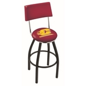 L8B4 - Black Wrinkle Central Michigan Swivel Bar Stool with a Back by Holland Bar Stool Company