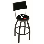 L8B4 - Black Wrinkle Cincinnati Swivel Bar Stool with a Back by Holland Bar Stool Company