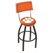L8B4 - Black Wrinkle Clemson Swivel Bar Stool with a Back by Holland Bar Stool Company
