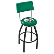 L8B4 - Black Wrinkle Colorado State Swivel Bar Stool with a Back by Holland Bar Stool Company