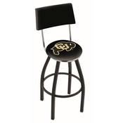 L8B4 - Black Wrinkle Colorado Swivel Bar Stool with a Back by Holland Bar Stool Company